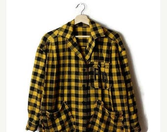 ON SALE Vintage Yellow x Black buffalo  Plaid/ checked  Cotton Blouse from 90's*