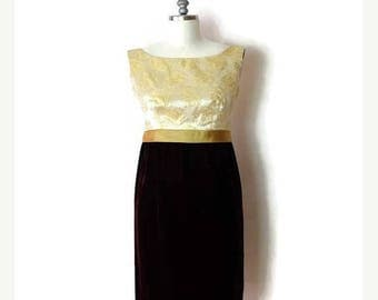 ON SALE Vintage Burgundy Velour x  Gold Floral Pattern  Sleeveless Dress from 60's/Party dress*