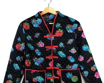 ON SALE Vintage Black x Gift Box Printed Chinese Cheongsam style Silk Blouse/Jacket from 90's*