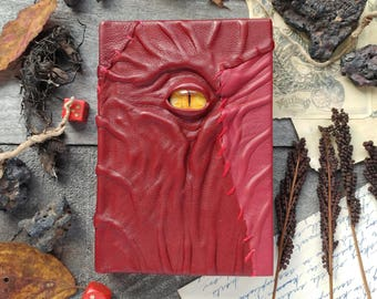 Red leather book of shadows, handmade journal with eye, dark necronomicon grimoire, ooak Christmas gift idea, handcrafted diary book cover