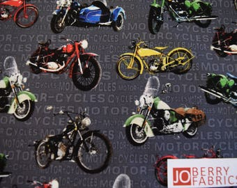 Motorcycles from the Open Road Collection by Exclusively Quilters.  Quilt or Craft Fabric, Fabric by the Yard.