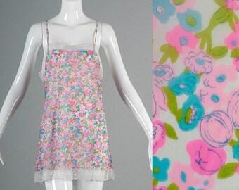 SALE 60s Full Slip 60s Pink Floral Mini Slip Lord & Taylor Full Slip Lace Trillium 36 Mad Men Megan Mini Dress Slip 60s Lingerie Small Mediu