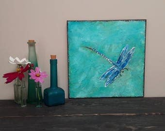 Dragonfly Painting Damselfly Helicopter Bug Modern Abstract Bug Art Acrylic Painting Insect Art 12x12 canvas heavy textured  by jillsfineart