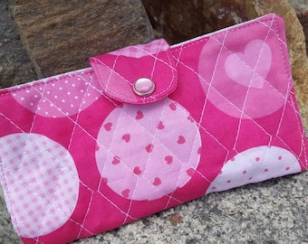Pink Checkbook Cover, Fabric Checkbook Cover, Breast Cancer Awareness Checkbook Cover, Pink Quilted Coupon Wallet