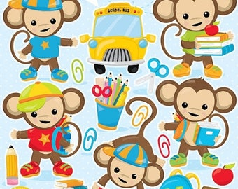 80% OFF SALE School clipart, Monkey school clipart commercial use, back to school graphics, digital clip art, digital images - CL998
