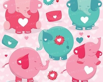 80% OFF SALE Valentine elephants clipart commercial use, valentine vector graphics, digital clip art, digital images - CL631