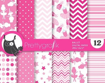 80% OFF SALE Ballet ballerina digital paper, commercial use, scrapbook papers, background, - PS742