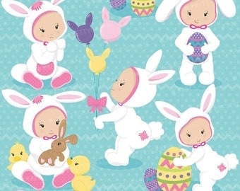 80% OFF SALE easter babies girl clipart commercial use, vector graphics, digital clip art, digital images - CL645