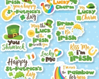 80% OFF SALE St-patrick's day Word Art clipart commercial use, Irish lettering vector graphics, monogram clip art, digital images - CL1069