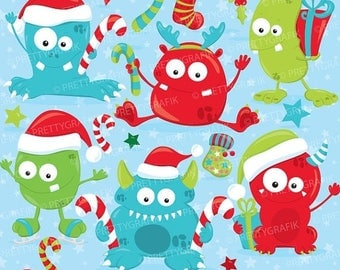 80% OFF SALE Christmas monsters clipart commercial use, winter monsters vector graphics, digital clip art, digital images  - CL751