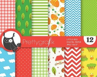 80% OFF SALE Little red digital papers, commercial use, scrapbook papers, background  - PS729
