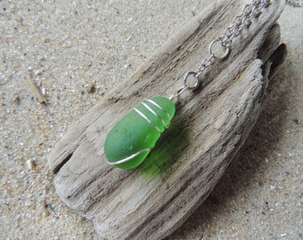 Handmade Surf Tumbled Bright Green Sea Glass Pendant Hand Wrapped on Chain
