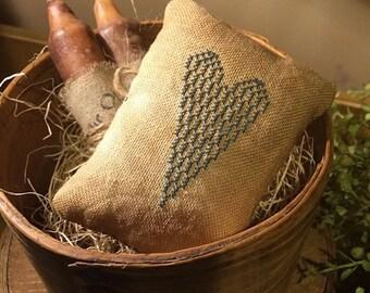 Primitive Heart Pillow Tuck Pin Keep   Farmhouse Blue   Bowl Filler  