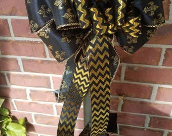 Fleur de lis black and gold Saints bow Louisiana bow