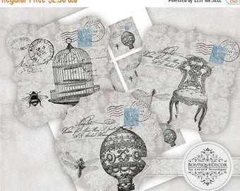 ON SALE Provence Digital Collage Sheet. Set of 3 squere vintage collages 5x5 cm. Instant download.