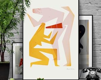 Touch me 3/4. Original illustration art poster giclée print signed by Paweł Jońca.