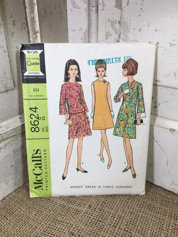 Vintage McCalls 8624, Misses dress three versions size 12, 1966 dress pattern, 2.50 US shipping,  60's clothes to sew, retro dress pattern