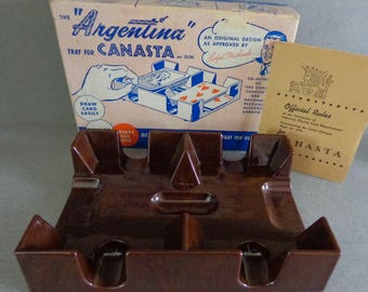 Vintage Argentina Tray for Canasta or Gin playing cards Rummey Tray No 30 Reddish Brown Walnut Plastic comes in Box with Canasta Rules