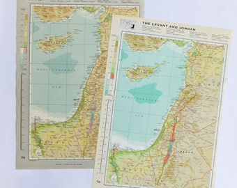 Vintage map of the Levant - Large Map of Syria, Israel, Lebanon, Jordan, Cyprus, Palestine