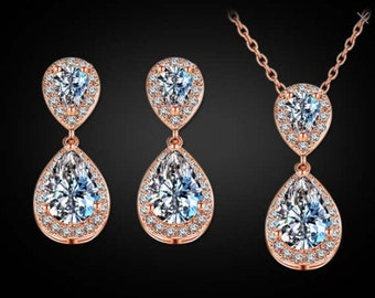 """SET Necklace and Small Dangle Crystal Vintage Rose Gold Wedding Prom gauges plugs tunnels 2g 0g 00g 7/16"""" 1/2"""" 6mm 8mm 10mm 11mm 12mm"""