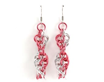 Spiral Chainmaille Earrings   Hand Crafted Chainmaille Jewelry   Handmade Earrings   Pink and Silver   Anodized Aluminum