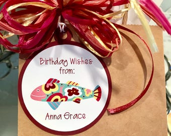 Personalized Colorful Fish Birthday Gift Tag