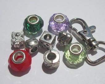 10 acrylic and other metal beads with Keychain-(PV28-47)