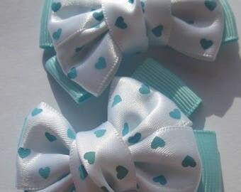 2 big heart 6 cm (A236) patterned fabric bows