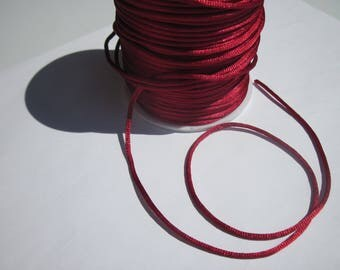 1 meter of satin Rattail (1) 2 mm garnet colored thread