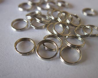 30 double rings in silver plated 8mm (4)