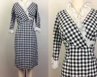 Vintage 60s GINGHAM Cotton Black and White RUFFLED Dress L