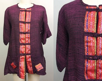 Vintage Ethnic Purple and Red Top w/ Pockets Boho Hippie
