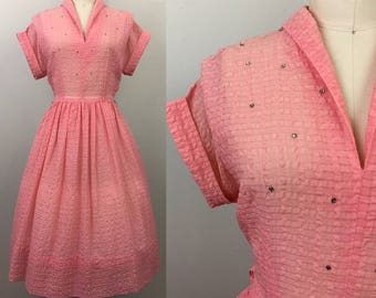 Vintage 50s Pink Seersucker Semi Sheer Dress w/ Rhinestones M