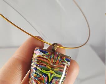 Multi colored polymer clay Natasha pendant