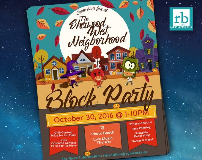 Block Party Flyer, Halloween Fall Flyer, Autumn flyer, Truck or Treat flyer, 8.5x11 Flyer Design, Flyer Design - Digital Printables