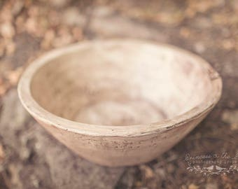 Antique Wash Dough Bowl Photo Prop, Newborn Dough Bowl, Primitive Resin Bowl, Photography Prop, Rustic Baby Bowl, Vintage Washed Bowl Prop