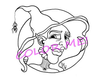 Witch coloring page  Etsy