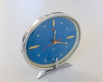 vintage polaris alarm clock retro desk clock 60s china blue