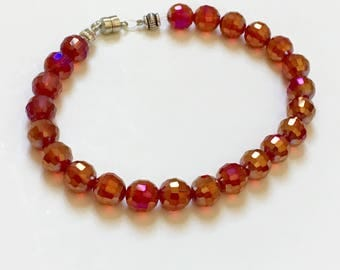 Red & Gold Crystal Bead Bracelet - Handmade - Gifts for Her