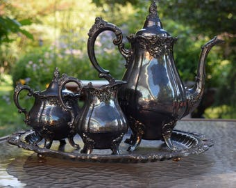 Beautiful Four Piece Baroque by Wallace  Silver PlateTea Service Set Lovely Patina