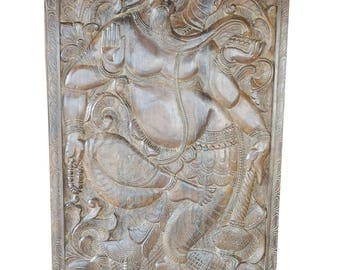 Antique Hand Carved Panel Dancing Ganesha on Lotus Wall Sculpture, Welcome door , Barn Door, Zen Decor, Zen Interior, Yoga Studio Decor
