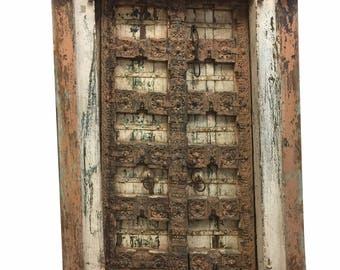 Antique Welcome Doors, Floral Patina Vintage Indian Architecture, Old Haveli Door, Mediterranean Bohemian Interiors