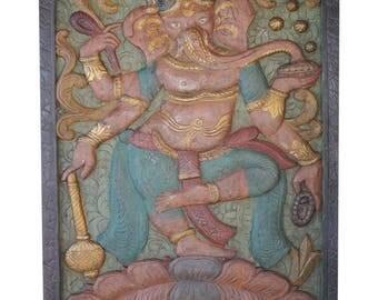 Vintage LUXE Hand Carved Ganesha dANCING Door Panel New Beginnings Happiness, Prosperity Wall Sculpture Eclectic Decor CLEARANCE SALE