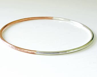 Copper Silver Mixed Metal Bangle Half and Half Textured Bangle Copper Sterling Silver Stacking Bangles. Bangle Bracelet and Cuff Jewellery