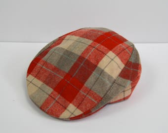 Vintage 1950s Red Grey and White Plaid Flat Golf Cap by Pilgrim Size ...