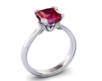 Ruby Engagement Ring 2.00 Carat Princess Cut Ruby And Diamond Ring In 14k or 18k White Gold. Matching Wedding Band Available SW17RUBYW