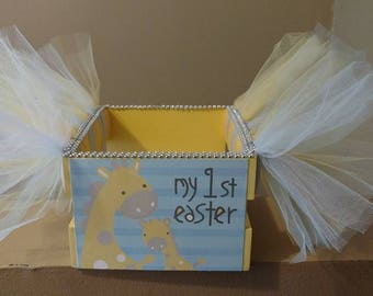 My first Easter Tutu Basket. Use as a bow holder, catch all basket. Yellow Giraffe Wooden Crate