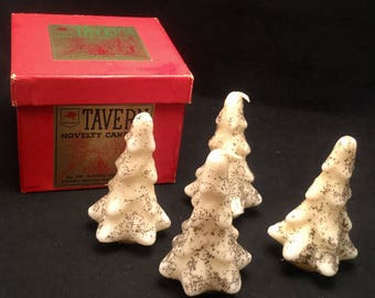 Box of Tavern Novelty Holiday Candles Snowy Glitter Trees