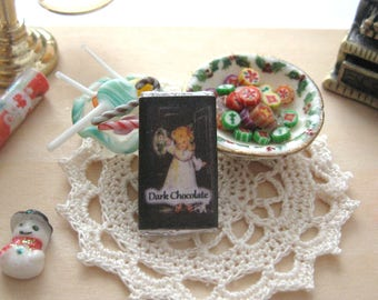 dollhouse  dark chocolate  bar christmas chocolate sweets confectionary 12th scale