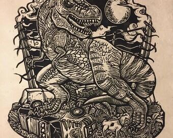 Jurassic Park Block Print